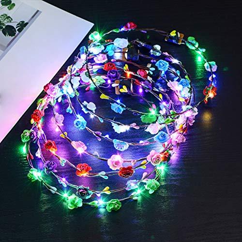 LED, motivo floreale, 6pcs fiore fascia per capelli fiore corona fascia da donna, accessori per capelli wedding festival party