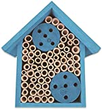 Mason Bee House - Bamboo Tube Bee Hotel for Solitary Bees - Attract More Pollinating Bees to Your Garden by Providing Them with a Bee Home Made from FSC Certified Wood (Medium, Cornflower Blue)