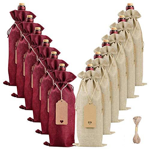 12 Stück Jute-Weinbeutel, wiederverwendbare Weinflaschen-Geschenktasche mit Kordelzug, Seil und Etiketten, Wein-Geschenktüten für Weihnachten, Hochzeit, Geburtstag, Party