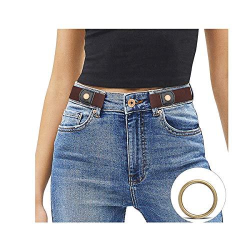 JasGood Schnallenfreier Damen Stretch Elastischer Gürtel für Damen Herren, Plus Size Keine Schnalle Unsichtbarer Gürtel für Jeans Hosen, Kaffee, Hosengröße 60cm-85cm