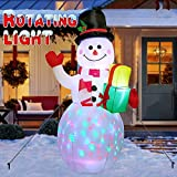 AerWo 5ft Christmas Inflatables Blow Up Yard Decorations, Snowman Xmas Inflatable with Rotating LED Lights for Indoor Outdoor Yard Garden Christmas Decorations