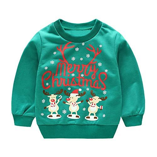 Sweat bébé, YUYOUG Chandail de bébé de Noël Parent-Enfant Tenues Joyeux Noël pour Bébé Sweat-Shirts garçons Filles Coton Tops (1.5-2 Ans, Green 1)