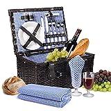 Flexzion Cesta rectangular de picnic de mimbre para 2 personas con set de plato, cubierto, copa de vino, suministro de mesa, abridor de botella y manta de picnic, Estilo forro de cuadro vichy azul