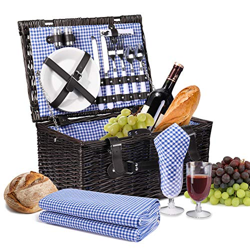 Flexzion Picnic Basket Set for 2 Person/Rectangular Tote Hamper Kit - Insulated Waterproof Wicker Picnic Blanket w/Plate Metal Flatware Table Supplies Wine Glasses Bottle Opener Blue Gingham Lining