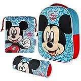 Mochila Infantil 3D, Estuche Escolar y Bolsa Merienda de Cuerdas – Mickey Mouse |...