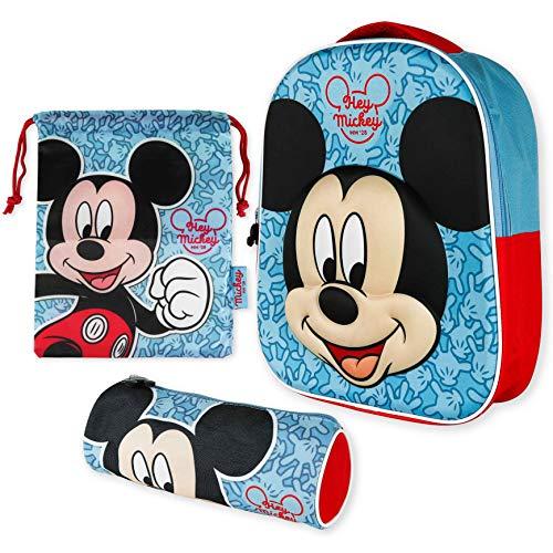 Kindergartenrucksack Jungen 3D, Turnbeutel Kinder und Stiftebox Kinder – Mickey Mouse | Rucksack Kinder für Jungen und Mädchen | Schulmaterial zurück zur Schule mit den Kindern Mickey Mouse