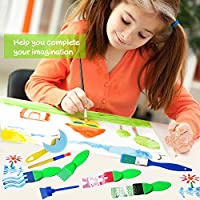 SPECOOL 56 Pezzi Pennelli Spugna per Pittura Set per Bambini, Pennello da Disegno per Bambini, Paint Spugne per Bambini Lavabile Set, la Pittura di DIY Arte e Mestieri, Grembiule #6