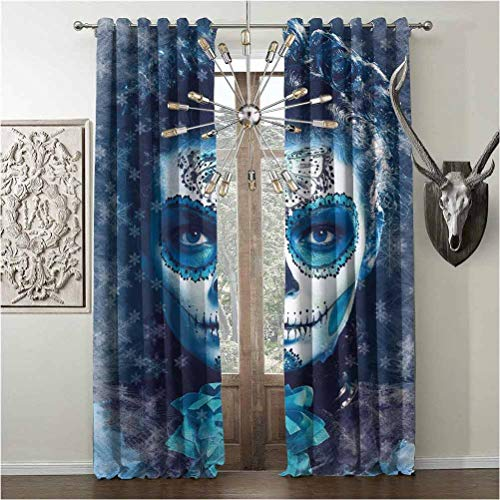 Tapesly Darkening Window Curtains, Sugar Skull Decor Heat-Insulation, for Bedroom Living Room, W108 x L84 Inch, Multicolor, Santa Muerte Concept Winter Ice Cold Snowflakes Frozen Dead Folkloric,