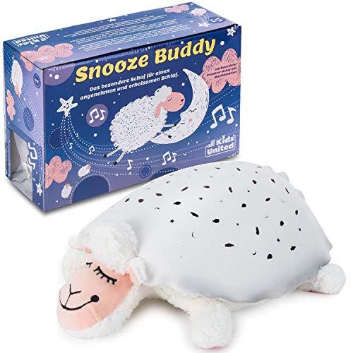 all Kids United Snooze Buddy LED Sternenhimmel Nachtlicht Schaf - Einschlafhilfe Schlummerlicht Schlaflicht; Sternenlicht-Projektor mit Gute-Nacht-Musik
