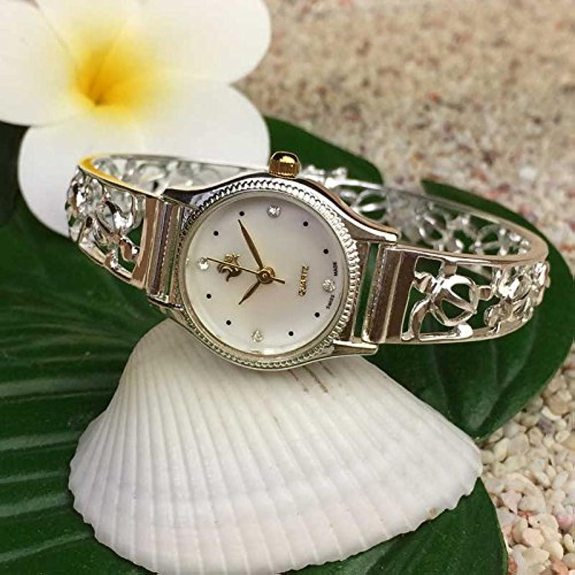 連結するラフト控えるハワイアンジュエリー シルバーブレスウォッチ 透かしホヌ 15cm アクセサリー Hawaiianjewely ハワジュウォッチ 腕時計