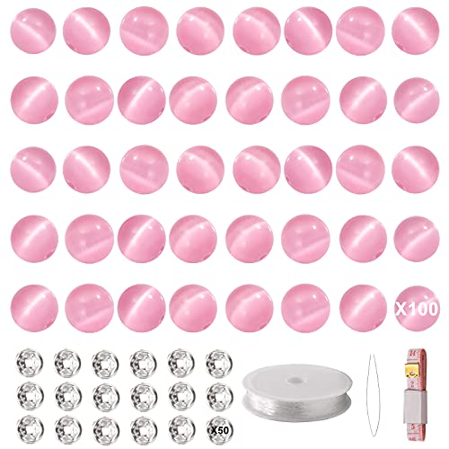 MISUYACO 100PCS 8mm Synthetic Cat's Eye Round Loose Beads, Crystal Glass Beads with 50PCS Spacer Beads, Elastic String for Jewelry Making DIY