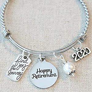2020 RETIREMENT Gift Bangle Bracelet, Find Joy in the Journey Congratulations Gift, 2020 Retirement Bracelet, Happy…