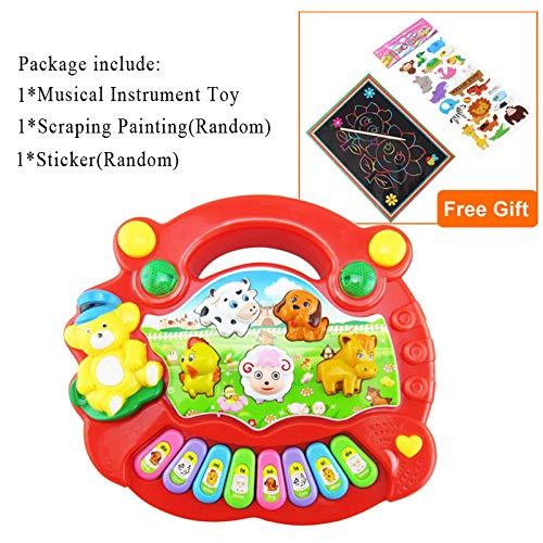 XKMY Juguetes educativos para bebés Instrumento musical Juguete para bebés Niños Animal Granja Piano Desarrollo Música Juguetes educativos para niños Regalo de Navidad Año Nuevo (Color: Rojo)