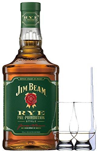 Jim Beam Rye Bourbon Whiskey 0,7 Liter + 2 Glencairn Gläser + Einwegpipette 1 Stück