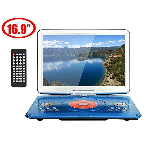 14,1 inch draagbare DVD-speler, hoge resolutie, oplaadbare batterij, direct play in formaten AVI/RMVB/MP3/JPEG, ondersteuning USB en SD-kaart (rood)