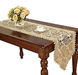 Simhomsen Beige Lace Table Runners Dresser Scarves Embroidered Rose Flower 16 × 60 Inch
