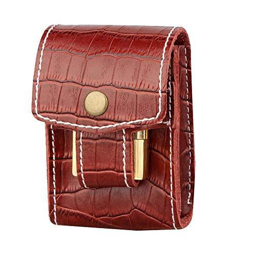 OHHCO cigarette case Holds 20 Cigarettes Two In One Elegant Creative Genuine Leather Cigarette Case Individuality Portable Cigarette Accessories-Burgundy Cigarette Box (Color : Burgundy)