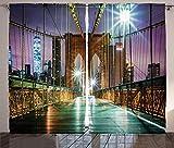 ABAKUHAUS Paisaje Cortinas, American Bridge, Sala de Estar Dormitorio Cortinas Ventana Set de Dos Paños, 280 x 225 cm, Brown púrpura