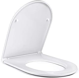 Amzdeal Tapa y Asiento para inodoro, Tapa de WC con Cierre Suave, Tapa de Inodoro de Diseño Ergonómico, Tapa de Asiento con Desmontaje Rápido/U-Forma Duroplast