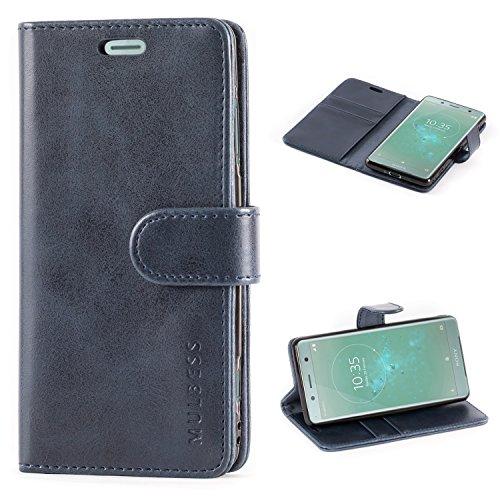 Mulbess Handyhülle für Sony Xperia XZ2 Compact Hülle Leder, Sony Xperia XZ2 Compact Handy Hüllen, Vintage Flip Handytasche Schutzhülle für Sony Xperia XZ2 Compact Hülle, Navy Blau