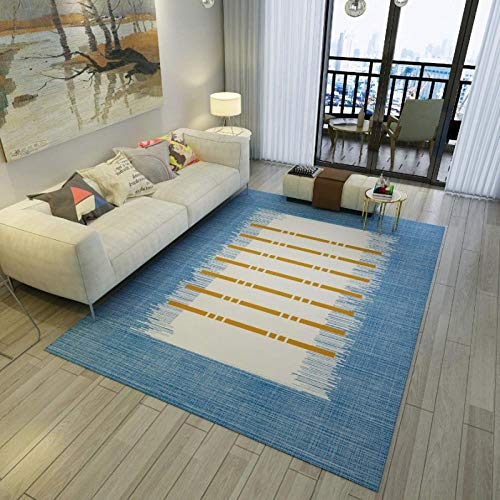 YQZS tapijt, modern, voor de woonkamer, slaapkamer, omranding, blauw, eenvoudig, extra zacht, antislip, keuken, zacht, deurmat 120X160cm(47X63inch)