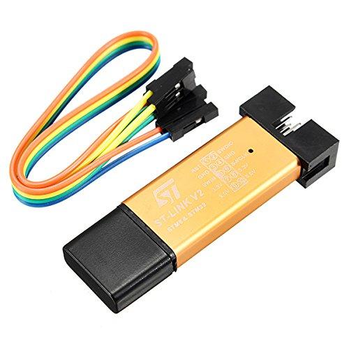 Ils - Protección de circuitos 3.3V 5V XTW ST-Link V2 STM8/STM32 Simulador Programador Downloader depurador 500MA Short Fuse Aleación de Aluminio Shell Disco U con 20 cm de Alambre Dupont