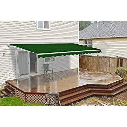 powerful UKN Electric retractable patio awning 13'x10′, green, traditionally rectangular …