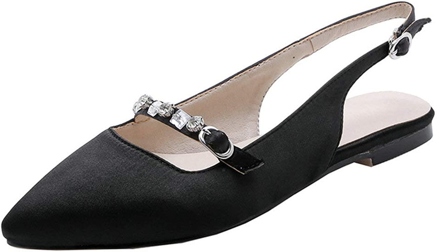KIKIVA Women Pointed Slingback Pumps Ankle Strap Low Heel Flat Court shoes