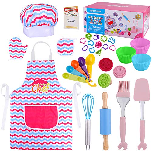INNOCHEER Real Baking Sets for Kids- 38 Pcs Kids Cooking Sets Includes Kids Apron and Chef Hat, Cooking Utensils with Recipes for Kids Chef Role Play Costume Set