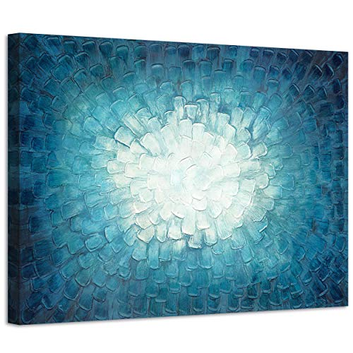 3D Teal Abstract Painting Artwork: Teal Textured Picture in Gradient Color Modern Canvas Picture Wall Art (36
