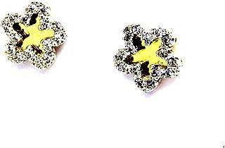 Pegaso Joyería–Pendientes oro amarillo y blanco 18kt con flores espejo con circonitas bicolor mujer niña niña