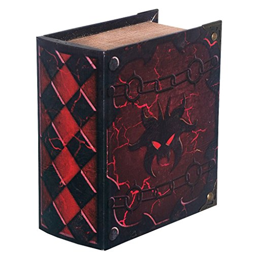 Grimoire Deck Box, Hellbent - Wooden Spellbook Style Trading Card Deck Storage (350+ MTG cards) for Magic the Gathering, Yugioh, Pokemon | Gift Item for Commander EDH and Modern Players