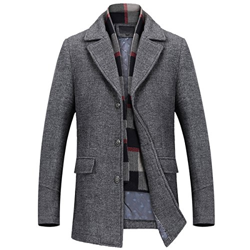 Mirecoo Herren warm Wollmantel Kurzmantel Winter Jacke Business- Gr. M, Grau