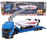 TOYLAND - Scania Flatbed Hauler Transporter Truck con Power Boat - Escala 1:48 - Fundición a presión - Rueda Libre (Camión Azul)