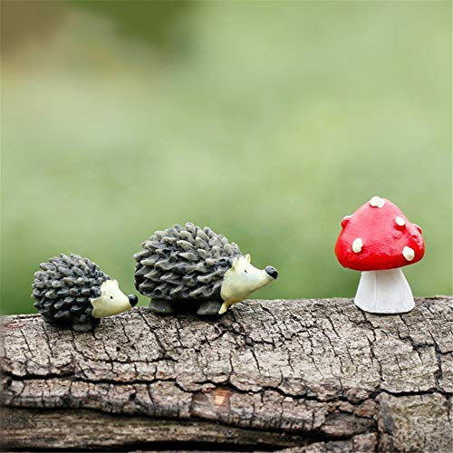 Cooltop Resin Mini Hedgehogs and Mushroom Miniature House Fairy Garden Home Garden Decoration Plant Pots Bonsai Craft Decor