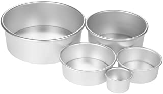 SKEIDO 5pcs/set Aluminum Alloy Round Cake Mould Chiffon Cake Baking Pan Pudding Cheesecake Mold Set