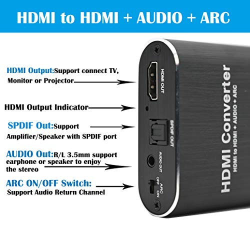 HDMI Audio Extractor 4K 60Hz 5.1 ARC HDMI to Audio Optical Toslink SPDIF Audio 3.5MM Audio Stereo Audio Converter Adapter Support ARC 3D PS4 Pro Roku Xbox