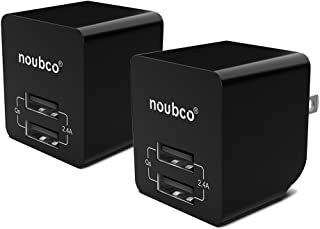 [2 Pack] Dual USB Wall Charger, Noubco 2.4A 12W Multi Port Compact AC Charging Adapter with Foldable Plug for iPhone X 10 8 7 6s 6 Plus, iPad, Galaxy, HTC, Nexus, Moto, BlackBerry, and More - Black
