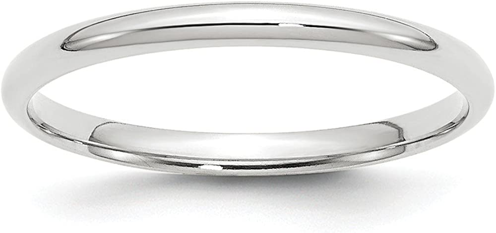 Solid 10k White Gold 2mm Comfort Fit Wedding Band
