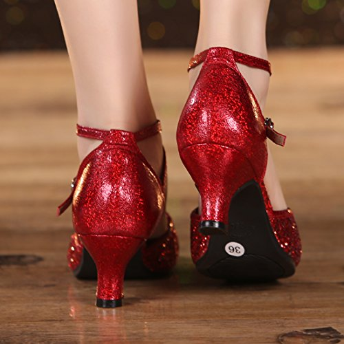 DorkasDE Damen Mädchen Tanzschuhe Latein Ballroom Tanz Schuhe Gummi Sohle mit 5.5cm Absatz - 6