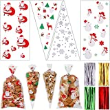 200 Pieces Christmas Cellophane Bags Christmas Candy Treat Bags Snowflake Snowman Reindeer Patterns Clear Goodies Bags with 200 Pieces Twist Ties for Xmas Holiday Supplies