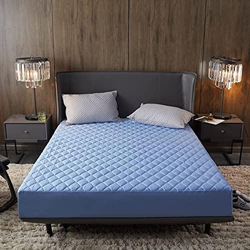 N\B Protector de colchón acolchado impermeable de 30 cm, funda gruesa de microfibra hipoalergénica y silenciosa (azul claro, 180 x 200 cm)
