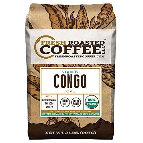 Fresh Roasted Coffee LLC, Organic Congo Kivu Coffee, USDA Organic, Light Roast, Whole Bean, 2 Pound Bag