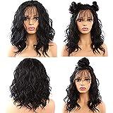 Cordón de encaje frontal pelucas corto Bob Wave realista mirando natural sintético encaje delantero peluca natural Hairline resistente al calor de la fibra de la peluca para las mujeres 18 pulgadas