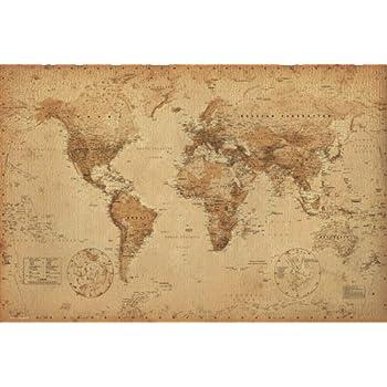 Amazon Com World Map Antique Art 24x36 Poster Posters Prints