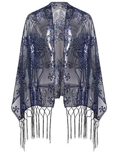 Coucoland Estola de mujer de los años 20, con estampado de mariposas, retro, para vestido de noche, vintage, boda, mujer, para el hombro, estilo Gatsby azul marino Talla única