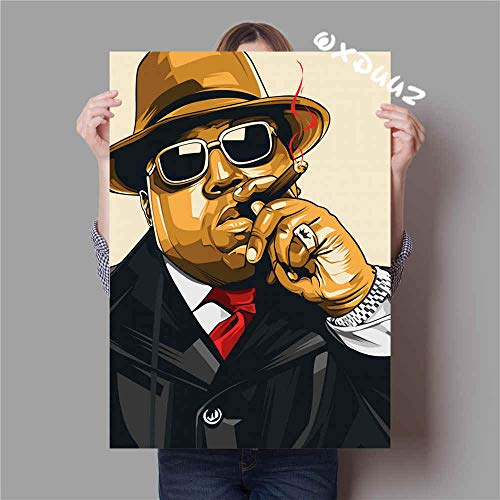 Flduod De bekende Amerikaanse rapper hiphop The Notorious BIG family wanddecoratie poster hoge kwaliteit canvas schilderij50x75cm
