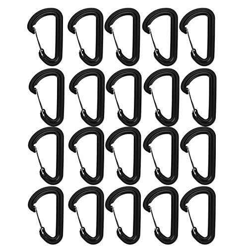 Demeras Mosquetón táctico en Forma de D Hebilla plástica de Alta Resistencia elástica 20 Piezas Mosquetón plástico para Mochila Molle/Llavero