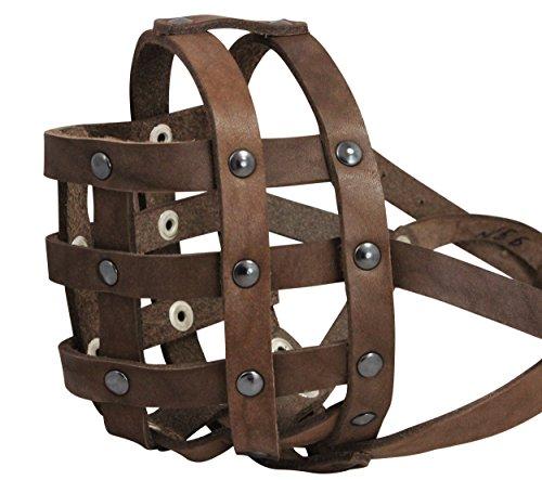 Echt Leder Hundekorb Maulkorb # 112Braun (Umfang 33cm Schnauze Länge 7,6cm) Englische Bulldogge, Boxer