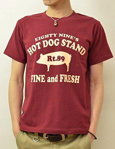 (ジーンズバグ)JEANSBUG 89's HOT DOG オリジナル ホットドッグ 豚 モチーフ プリント 半袖 Tシャツ メンズ レディース 大きいサイズ ST-HOTDOG M バーガンディ(72)
